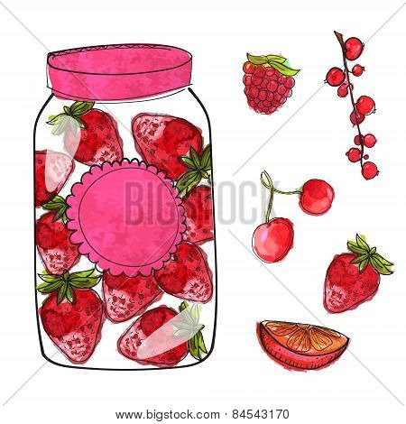 Hand drawn jar with homemade strawberry jam and isolated berries cherry, currant and raspberry. Set