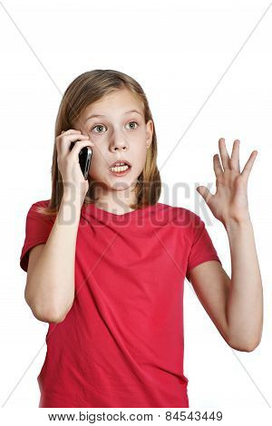 Emotional Girl Talking On The Phone