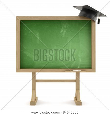 School Blackboard With Graduation Cap