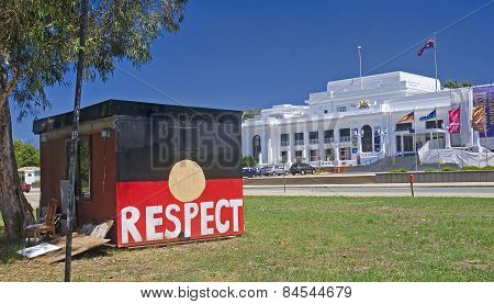 Canberra, Australia - December 18, 2014: Aboriginal Embassy In C
