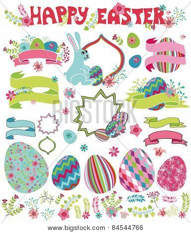 Easter set.Flowers,eggs,ribbon,headline,labels