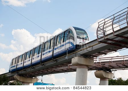 Monorail Train In Ostankino District In Moscow