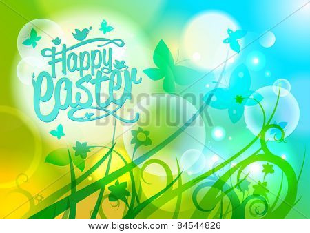 Happy Easter design on a spring background with butterflies and flowers.