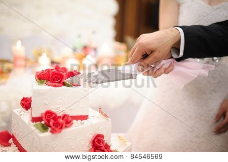 Slicing the wedding cake