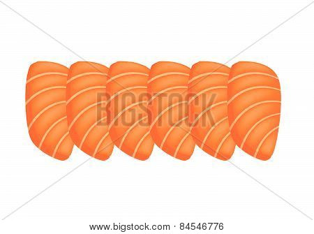 Salmon Sashimi Or Sake Sashimi On White Background