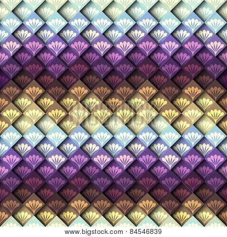 Mosaic pattern with decorative elements.