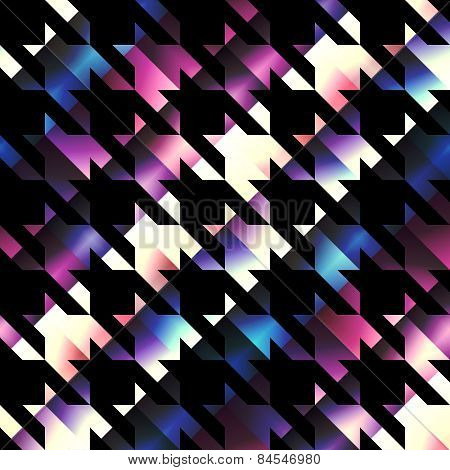 Houndstooth pattern on black background.