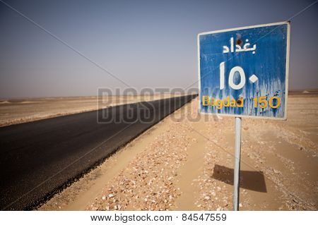 An Egyptian road sign. Local language.