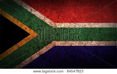 Flag Of South Africa With Old Texture. Vector