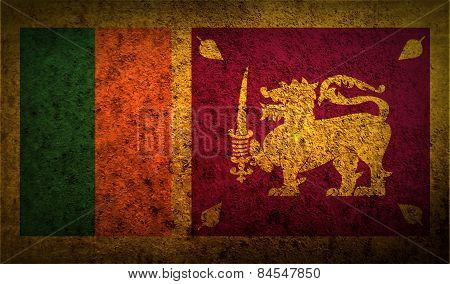 Flag Of Sri Lanka With Old Texture. Vector