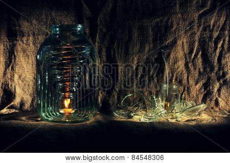 bottles. broken glass