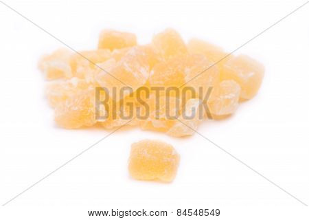 Dried Fruit Ananas On A White Background
