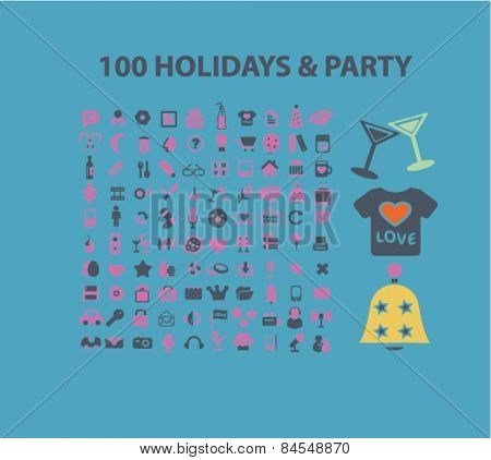 100 holidays, party, event, celebration flat isolated concept design icons, symbols, illustrations on background for web and applications, vector