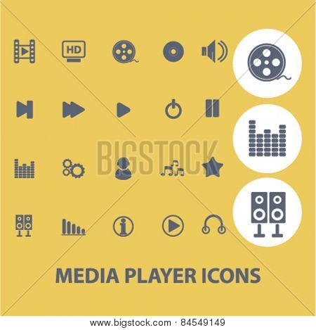 media player, music, audio flat isolated concept design icons, symbols, illustrations on background for web and applications, vector