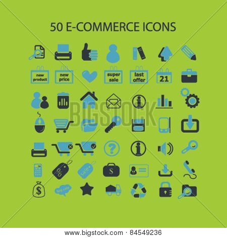 50 e-commerce, shop, store, internet marketing, retail flat isolated concept design icons, symbols, illustrations on background for web and applications, vector