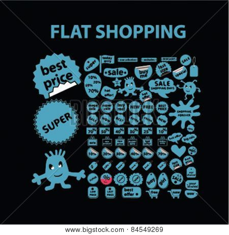 shopping, ecoomerce, store, sales flat isolated concept design tag, stickers, icons, symbols, illustrations on background for web and applications, vector