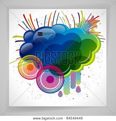 Abstract background with design elemnts. Cloud for your text, stars, speakers, raindrops. Vector illustration.