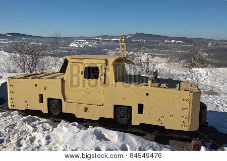 NIZHNY TAGIL, RUSSIA - MARCH 3, 2015: Photo of Locomotive contact K-14 in the exhibition VGOKa.