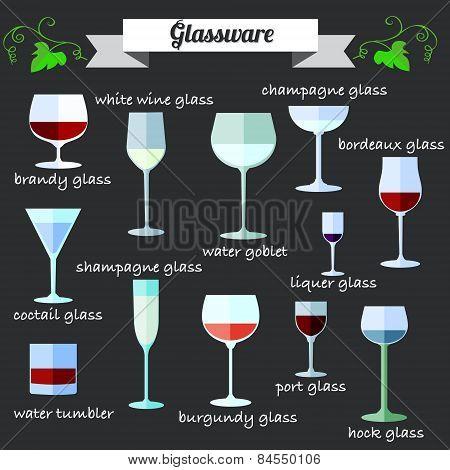 Wine Glassware Flat Design Icons Set.