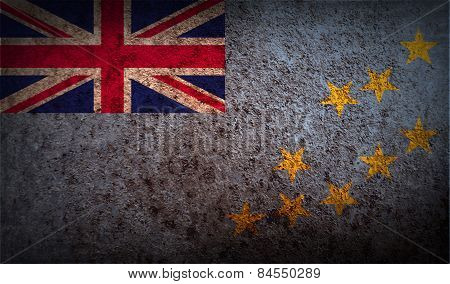 Flag Of Tuvalu With Old Texture. Vector