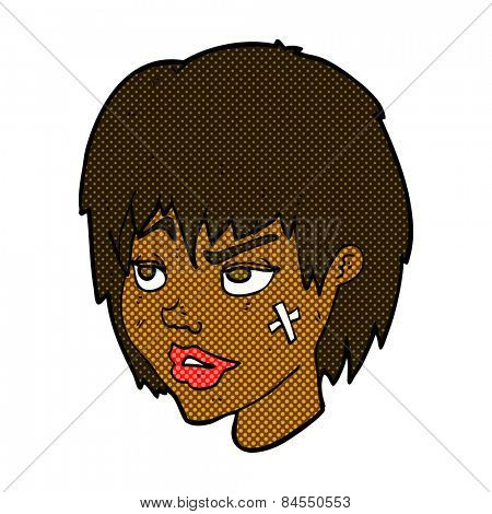 retro comic book style cartoon woman with plaster on face