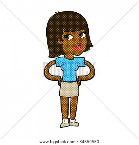 retro comic book style cartoon happy woman with hands on hips