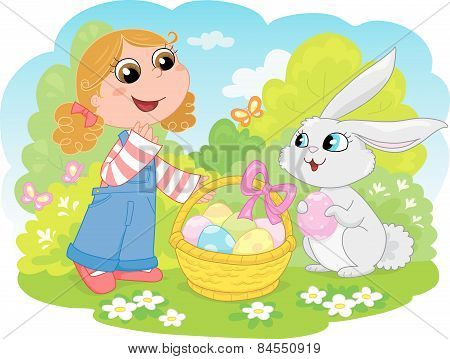 Cute Easter bunny and girl
