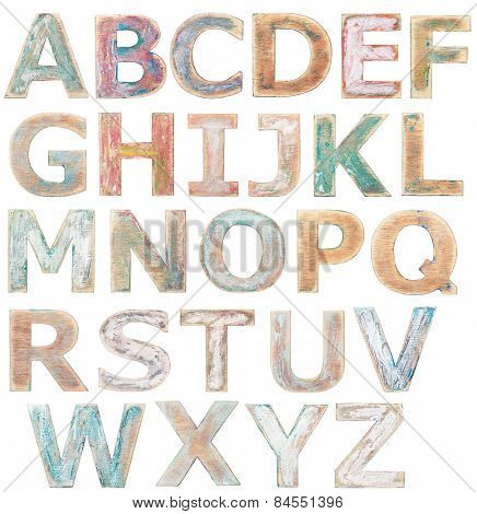 Wooden alphabet letters isolated on white