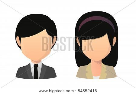 Asian Female And Male Faceless Avatar Wearing Suit