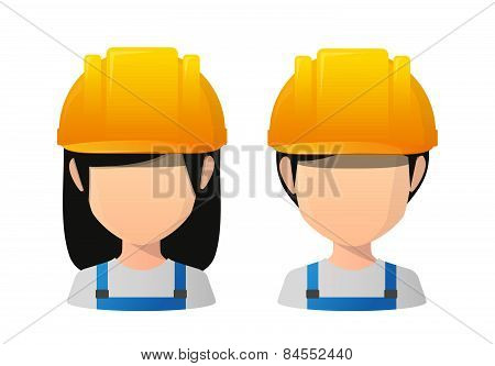 Asian Female And Male Faceless Avatar Wearing Work Wear