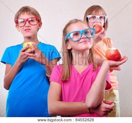 Group Of Funny Kids With Apples Posing