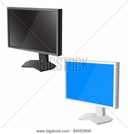 Lcd Tv  Monitor On White Background. Vector Illustration