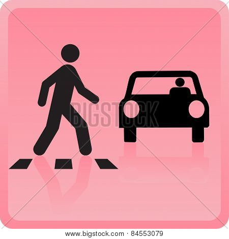 The Icon The Person Crosses Road And The Car Drops
