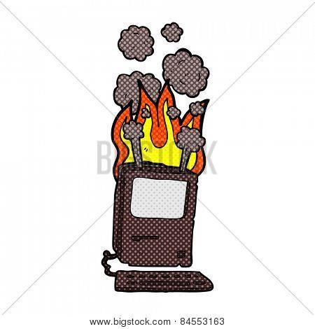 retro comic book style cartoon old computer