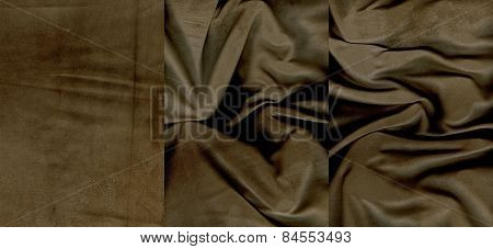 Set Of Rumpled Brown Suede Leather Textures