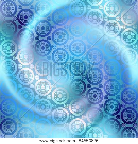 Geometric pattern in chinese style on blurred spiral background.