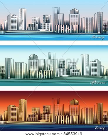 City skylines in morning, afternoon and evening backgrounds