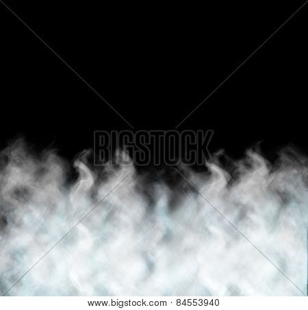 Dense Smoke Isolated On Black Background