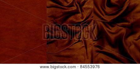 Set Of Very Dark Red Suede Leather Textures