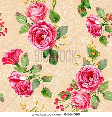 Seamless Pattern Of Vector Watercolor Red Roses.