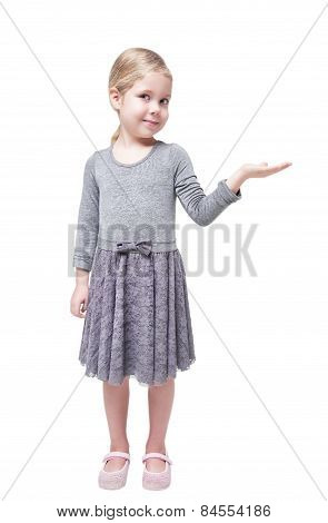 Beautiful Little Girl Presenting Something On Her Hand Isolated