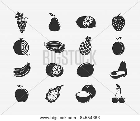 Fruit silhouettes icons