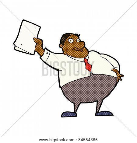 retro comic book style cartoon boss waving papers