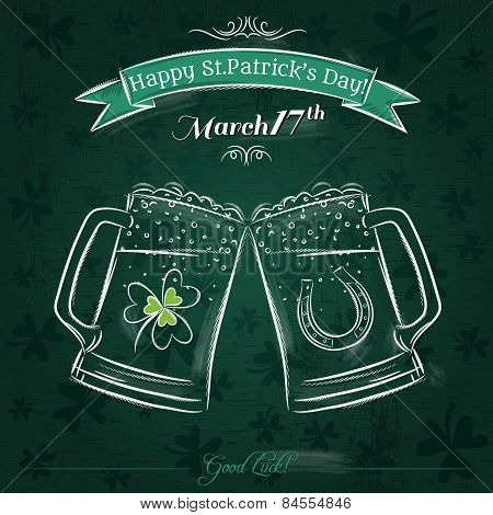 Green Card For St. Patrick's Day With Beer Mug