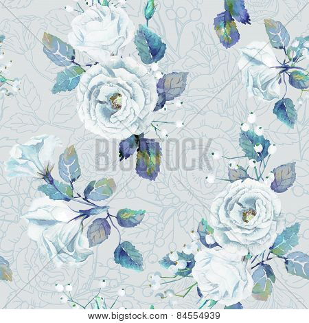 Seamless Pattern Of Vector Watercolor Blue Roses.
