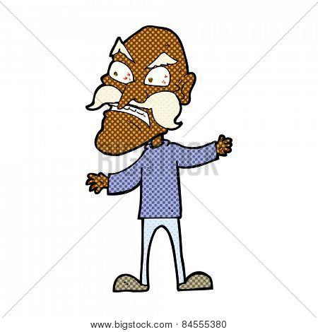 retro comic book style cartoon angry old man