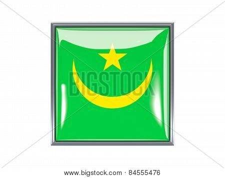 Square Icon With Flag Of Mauritania