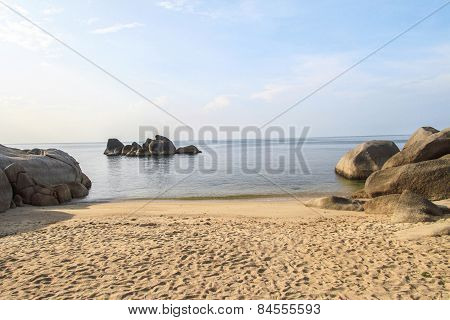 Morning With Fog And Famous Grandmother Rock On Lamai Beach. Koh Samui, Thailand