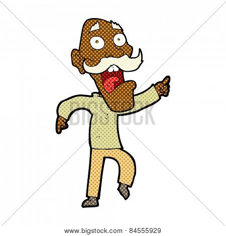 retro comic book style cartoon frightened old man