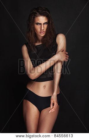 Studio Photo Of Posing Sexy Woman With Wet Hair